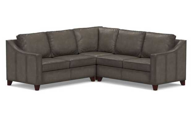 Cameron Roll Arm Leather 3-Piece L-Shaped Corner Sectional, Leather, Burnished Wolf Gray - Pottery Barn