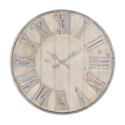 Adelaide Galvanized Wall Clock - Mercer Collection
