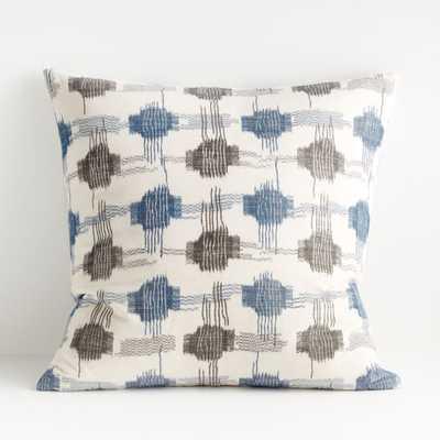 "Yuuki Blue and Grey Pillow 23"" - Crate and Barrel"