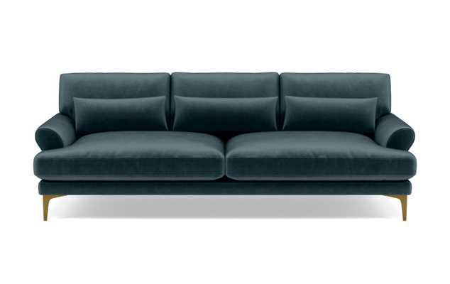 "Maxwell Custom Sofa - Sapphire Mod Velvet - Brass Sloan L Leg - 90"" Sofa - Standard Down Blend Cushions - Interior Define"