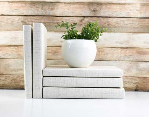 Set of 3 Decorative Books- Textured Cream - Havenly Essentials