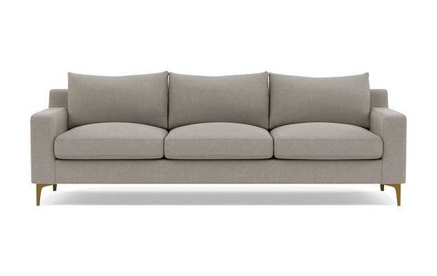 Sloan Sofa in Iron Performance Basket Weave with Brass Plated L Sloan Leg - Interior Define