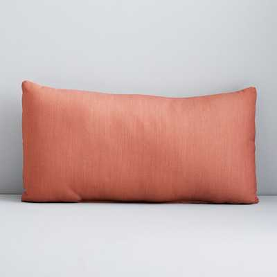 "Sunbrella Solid Indoor/Outdoor Cast Lumbar Pillow, Coral, 12""x21"" - West Elm"