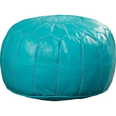 Carolos Leather Pouf Turquoise - Wayfair