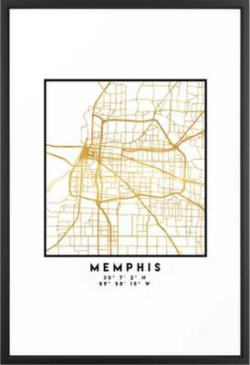 MEMPHIS TENNESSEE CITY STREET MAP ART Framed Art Print - Society6
