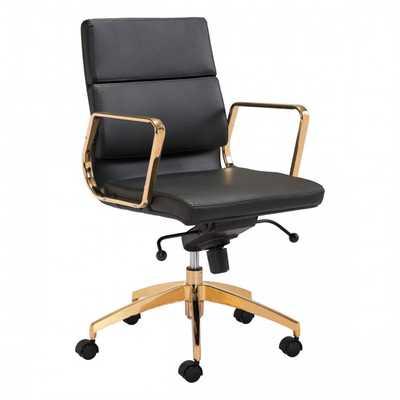 Scientist Low Back Office Chair Blk & Gd - Zuri Studios