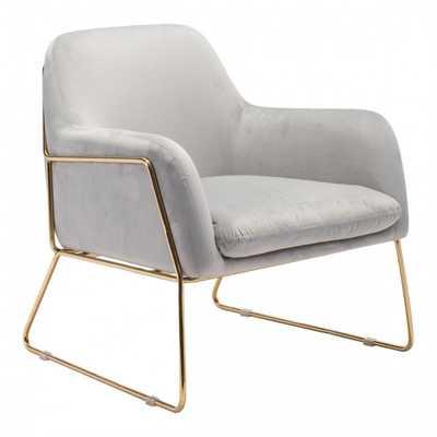 Nadir Arm Chair Gray Velvet - Zuri Studios