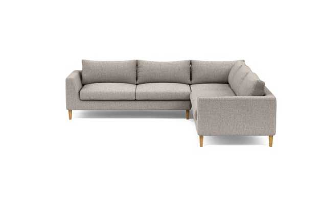 Asher Corner Sectional with Brown Earth Fabric and Natural Oak legs - Interior Define