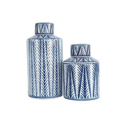 BLUE AND WHITE PATTERNED LIDDED JARS - LARGE - McGee & Co.