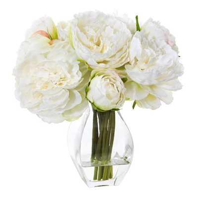 Peony Artificial Arrangement in Vase - Fiddle + Bloom