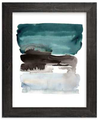 Teal Horizons - rich black wood frame - 24x30 - Minted