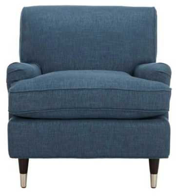 Chloe Navy/Espresso (Blue/Brown) Linen Club Arm Chair - Home Depot