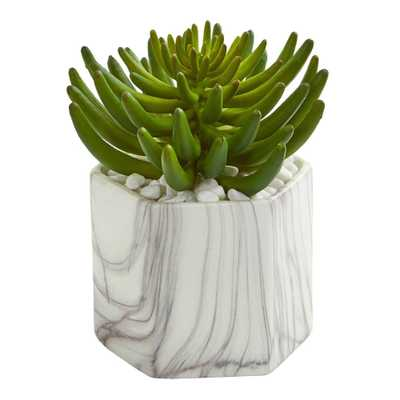 Succulent Artificial Plant in Marble Vase - Fiddle + Bloom