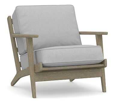 Raylan Upholstered Armchair, Polyester Wrapped Cushions, Brushed Crossweave Light Gray - Pottery Barn