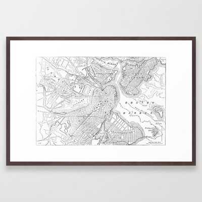 Vintage Map of Boston (1878) Framed Art Print - conservation walnut - Society6