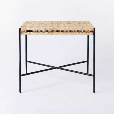 Woven Ottoman with Black Metal Legs Natural - Threshold - Target
