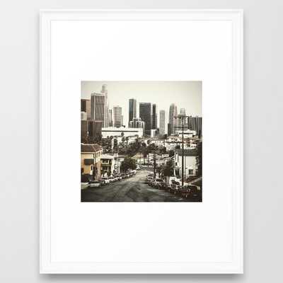 los angeles downtown Framed Art Print - Society6