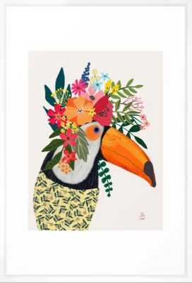 Toucan with flowers on head Framed Art Print - Society6