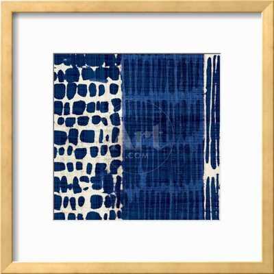 "INDIGO BATIK I - 12"" x 12"" - Ramino Gold Thin frame/Bright White mat - art.com"