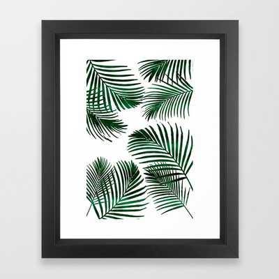 "Tropical Palm Leaf Framed Art Print - Vector Black - 10"" x 12"" by Naturemagick - Society6"
