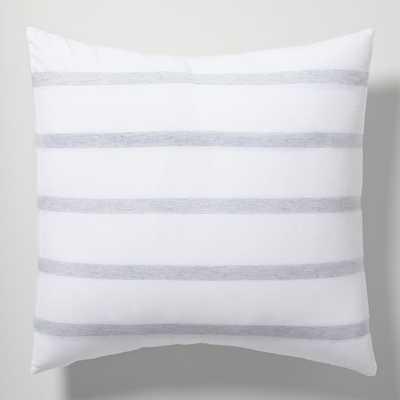 Washed Cotton Bold Stripe Euro Sham, Heather Gray - West Elm