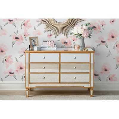 Orpha 6 Drawer Double Dresser, Gold - Wayfair