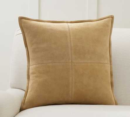 "Pieced Suede Pillow Cover, 20 x 20"", Camel - Pottery Barn"