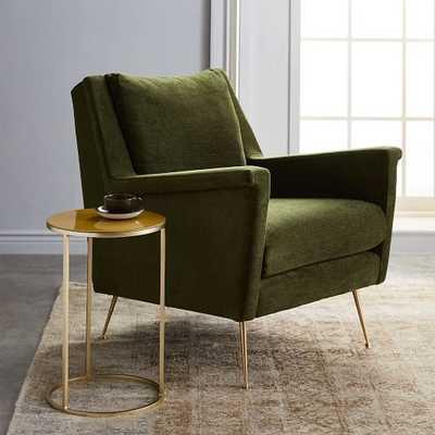 Carlo Mid-Century Chair, Velvet, Olive, Brass - West Elm