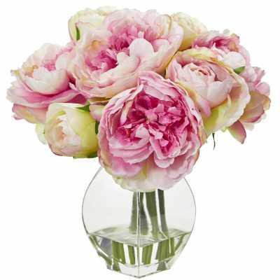 Artificial Peony Floral Arrangements and Centerpieces in Vase - pink - Wayfair