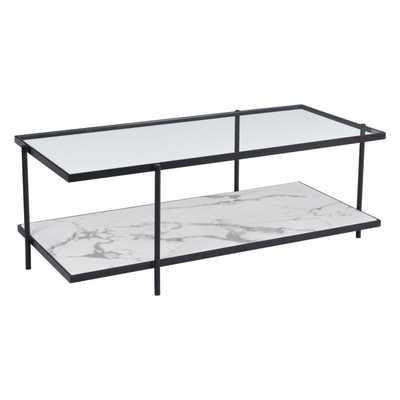 Winslett Coffee Table Clear & White & Matt Black - Zuri Studios