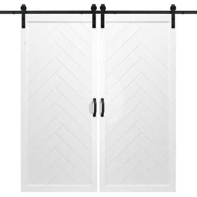 Paneled Wood Finish Barn Doors with Installation Hardware Kit - Wayfair