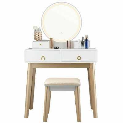 Nicol Vanity Set with Stool and Mirror - Wayfair