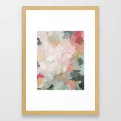 Forest Green Fuchsia Blush Pink Abstract Flower Spring Painting Art Framed Art Print - Society6