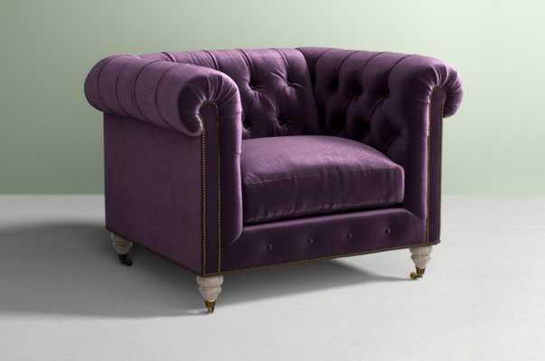 Lyre Chesterfield Chair - Velvet in Burgundy - Anthropologie