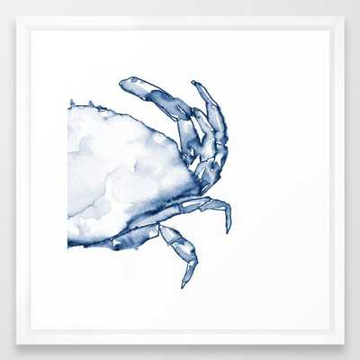 Coastal Crab in Watercolor, Navy Blue (Right Half in Set) Framed Art Print - Society6