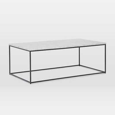 "Streamline XL Rectangle Coffee Table, 52""x30"", Marble and Antique Bronze - West Elm"