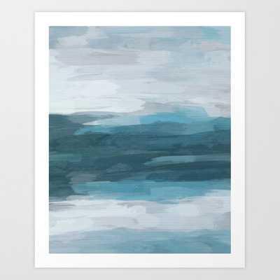"21 Teal Ocean Blue Gray Abstract Nature Art Painting Art Print, 28"" x 34"" - Society6"