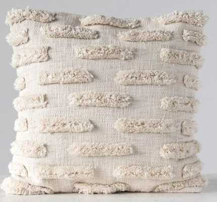 Square Woven Cotton Pillow with Fringe in Natural - Burke Decor