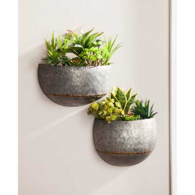 2-Piece Metal Wall Planter Set - Wayfair