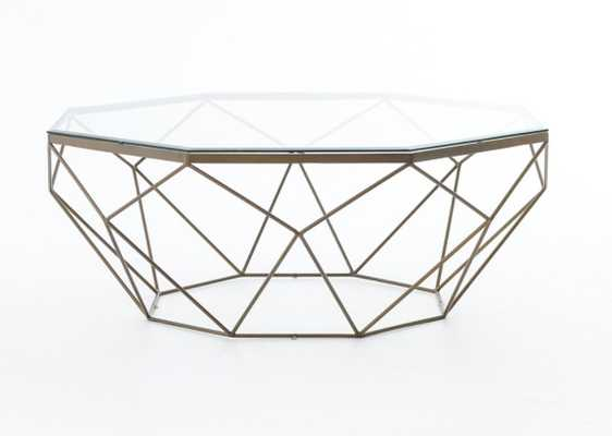 Geometric Coffee Table in Antique Brass - Burke Decor
