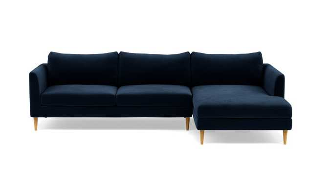 OWENS Sectional Sofa with Right Chaise, Navy - Interior Define
