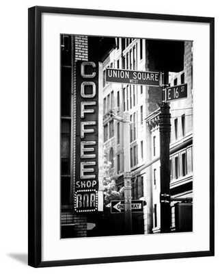 Coffee Shop Bar Sign, Union Square, Manhattan, New York, US, Old Black and White Photography - art.com