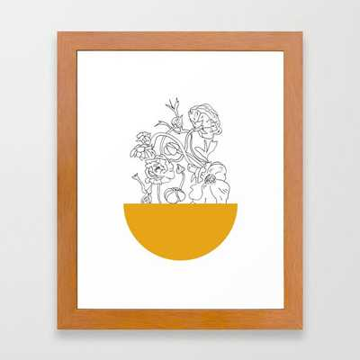 VESSEL - Floral Ink in Mustard - Cooper and Colleen Framed Art Print - Society6