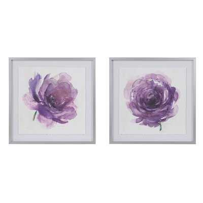'Purple Ladies Rose' 2 Piece Framed Watercolor Painting Print Set on Paper - Wayfair