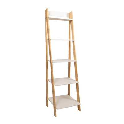 62.2 in. Natural/White Wood 5-shelf Ladder Bookcase with Open Back - Home Depot