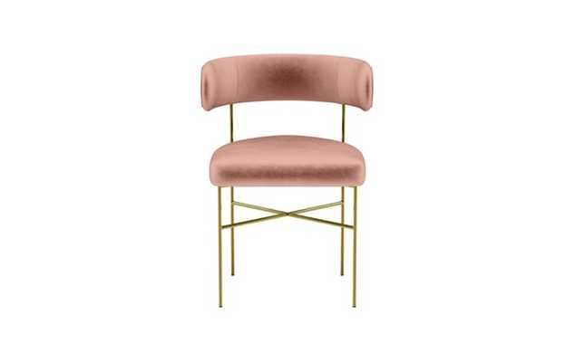 Audrey Dining Chair with Blush Fabric and Matte Brass legs - Interior Define