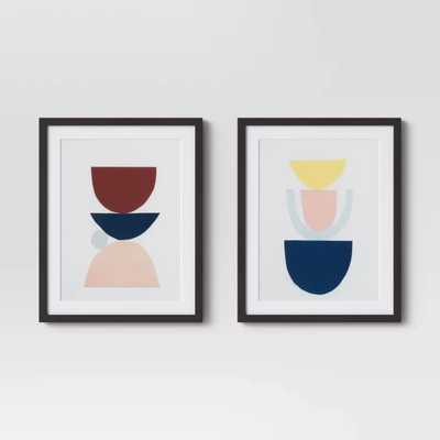 "Set of 2 16""x20"" Stacked Forms Abstract Framed Print - Project 62™ - Target"