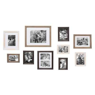 10 Piece Sturminster Gallery Picture Frame Set-White Wash/Charcoal Gray/Rustic Gray - Wayfair
