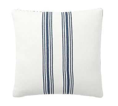 "Culver Reversible Stripe Grainsack Pillow Cover, 20"", Storm Blue - Pottery Barn"