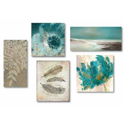 'Tranquility' - 5 Piece Wrapped Canvas Gallery Wall Set - Wayfair